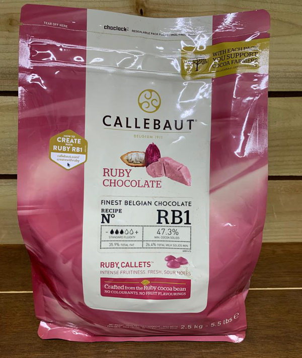 Callebaut Ruby Chocolate Chips (callets) 47.3% Min Cocoa - 2.5kg